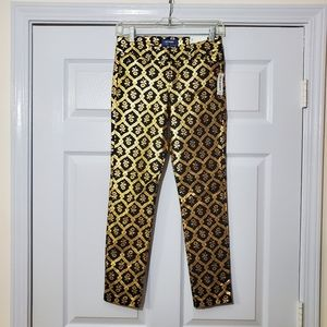 NWT Old Navy black & gold baroque style pixie pant